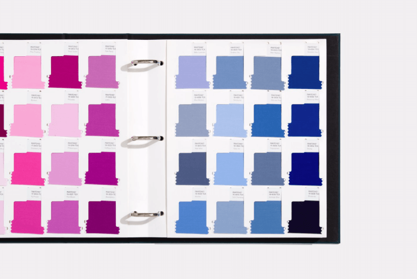 Swatches of Pantone Colors in a binder. Photo by Its Nice That.